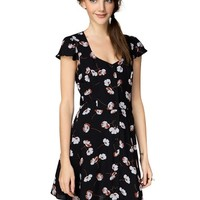 Poppy Floral Cut Out Tea Dress