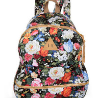 Cute Floral Print Backpack - Beige Backpack - $43.00