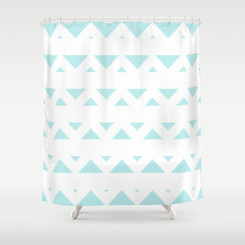 Turquoise Aqua Blue Tribal Triangles Shower Curtain by BeautifulHomes