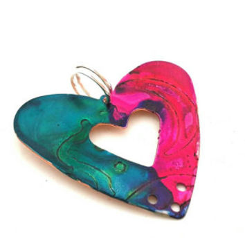 Stamped Metal Heart Pendant, Hand Stamped Moon Heart Pendant, Pink and Blue Painted Metal Pendant, Copper Heart Charm