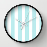 Turquoise Aqua Blue Stripe Vertical Wall Clock by BeautifulHomes