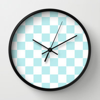 Turquoise Aqua Blue Checkers Wall Clock by BeautifulHomes