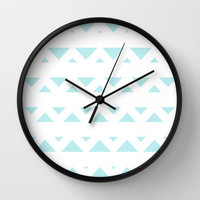 Turquoise Aqua Blue Tribal Triangles Wall Clock by BeautifulHomes
