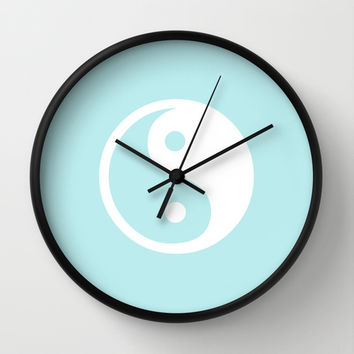 Turquoise Aqua Blue Harmony Yin Yang Wall Clock by BeautifulHomes