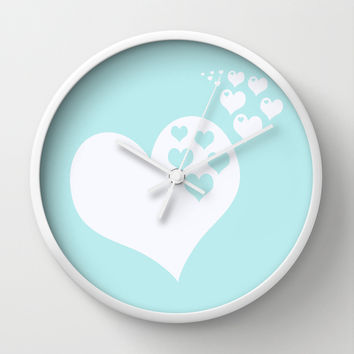 Turquoise Aqua Blue Hearts of Love Wall Clock by BeautifulHomes