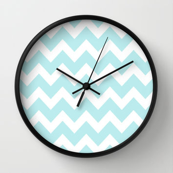 Turquoise Aqua Blue Chevron Wall Clock by BeautifulHomes
