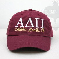 Alpha Delta Pi Sorority Baseball Cap - Custom Color Hat and Embroidery.