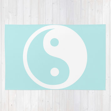 Turquoise Aqua Blue Harmony Yin Yang Area & Throw Rug by BeautifulHomes