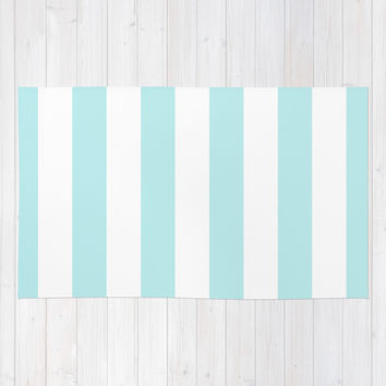Turquoise Aqua Blue Stripe Vertical Area & Throw Rug by BeautifulHomes