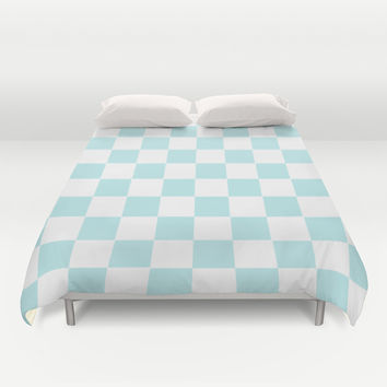 Turquoise Aqua Blue Checkers Duvet Cover by BeautifulHomes