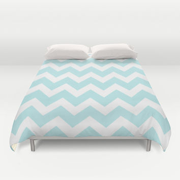 Turquoise Aqua Blue Chevron Duvet Cover by BeautifulHomes