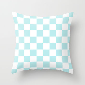 Turquoise Aqua Blue Checkers Throw Pillow by BeautifulHomes