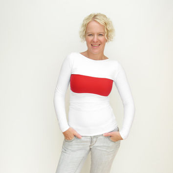 Red white top color block shirt long sleeves top fall fashion