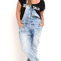 Plus Size Blue Spice Light Wash Denim Overall with Rolled Hem