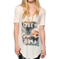 Obey Agate Stone Dusty White Scoop Neck T-Shirt