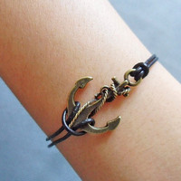 Anchor wrist bracelet girls bracelet women bracelet  cuff bronze antique anchor bracelet rope bracelet,leather bracelet sh-010
