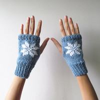 Hand Knit Fingerless Gloves in Denim Blue - Embroidered Snowflake - Seamless Knit Gloves - Wool Blend - Ready to Ship