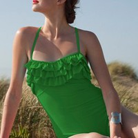 Green Ruffle One-Piece Suit