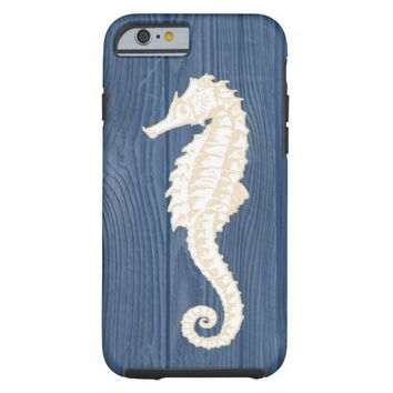 Sea Horse Vintage Blue Wood Beach iPhone 6 Case