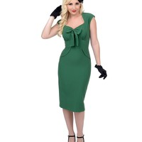 Stop Staring! 1940s Style Green Fitted Karlie Wiggle Dress
