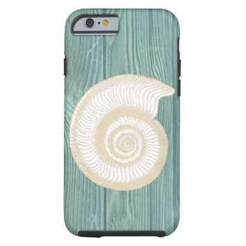 Seashell Vintage Aqua Wood Beach iPhone 6 Case