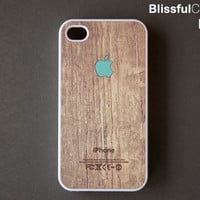 iphone 4 case - Apple logo on wood print - mint