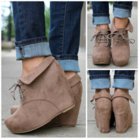 So Posh Wedge Bootie - Taupe - TAUPE /