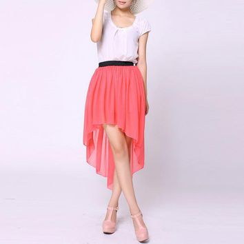 Bqueen Asymmetric Maxi Red Skirt TD004R - Designer Shoes|Bqueenshoes.com
