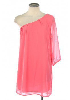 CORAL LOVELY CHIFFON DRESS WITH ONE SHOULDER WITH 3/4 SLEEVE LENGTH @ KiwiLook fashion