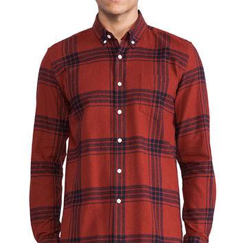 SATURDAYS NYC Crosby Flannel Button Down in Red