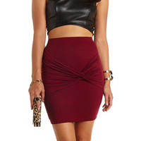 RUCHED & KNOTTED BODYCON MINI SKIRT