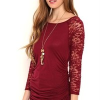 Tunic Top with Lace Three Quarter Sleeves