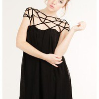 BLACK AMAZING CHIFFON TRENDY CAGE DRESS @ KiwiLook fashion