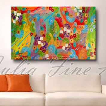 48''abstract painting, large print, floral abstract art, flowers painting, colorful print, green, orange abstract, blue, red, rainbow colors