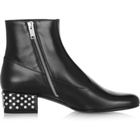Saint Laurent | Crystal-embellished leather ankle boots | NET-A-PORTER.COM
