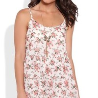 Peasant Slip Dress with Small Floral Print