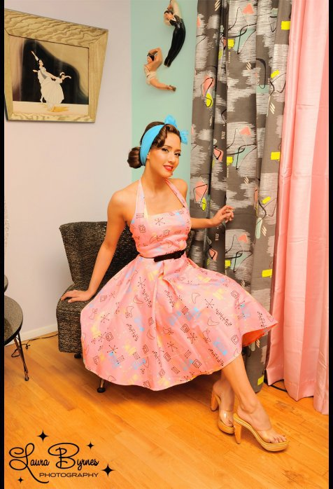 Pinup Couture Atomic Print Pink Dress with Black Belt | Pinup Girl Clothing