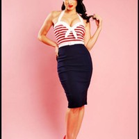 "Sexy ""Hello Sailor"" Nautical Wiggle Dress with Red Stripes by Pinup Couture 