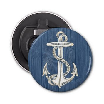 Anchor Vintage Blue Wood Beach Bottle Opener