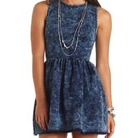 ACID WASH DENIM SKATER DRESS