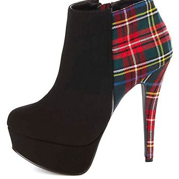 Plaid-Backed Platform Ankle Booties by Charlotte Russe - Red