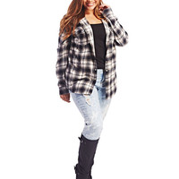 Hooded Plaid Flannel Shirt | Wet Seal+