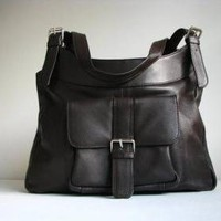 Brown Leather Pocket Shoulder Bag on Luulla