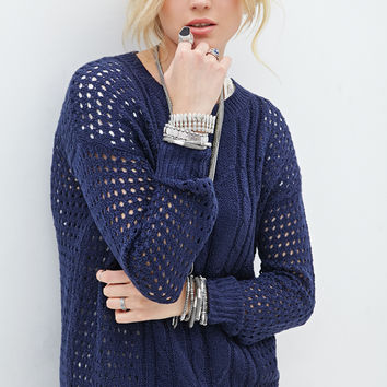 Open-Knit Fisherman Sweater
