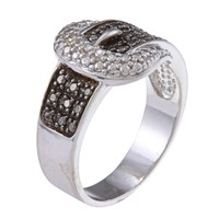 Sterling Silver Black Diamond Accent Buckle Ring | Overstock.com