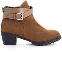Strapped Faux Suede Ankle Boots in Camel