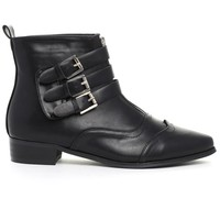 Buckled Point Toe Ankle Boots in Black