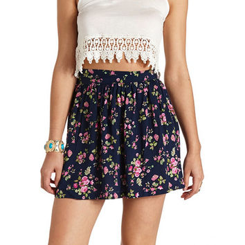 HIGH-WAISTED FLORAL PRINT MINI SKIRT