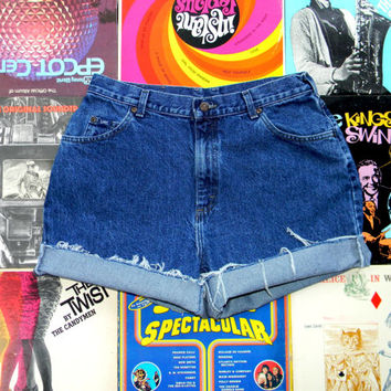 High Waisted Denim Shorts - Vintage 90s Dark Stone Washed Blue Jean Shorts - Frayed, Cuffed, Rolled Up LEE Shorts Plus Size 14 XL
