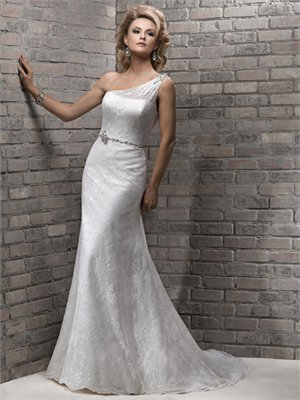 One-shoulder mermaid lace sweep train fall wedding dresses 2012 BAML0056